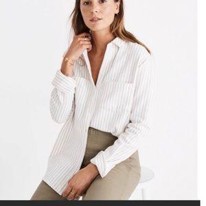 Madewell Flannel Sunday Shirt Stripe Beige XS